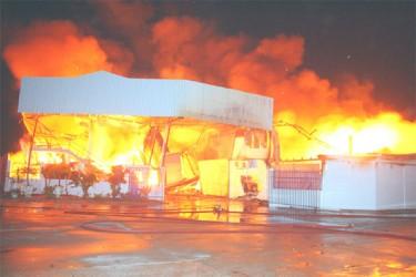 The factory ablaze