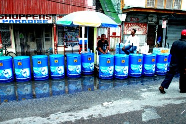These water carts were temporarily put out of business by Wednesday's weather conditions