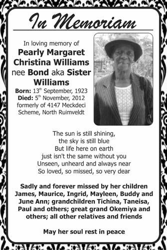 Pearly WIlliams nee Bond aka Sister Williams
