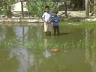 Sonny and his brother standing in the flood water