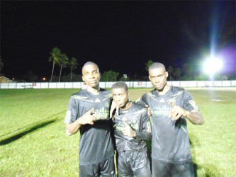 Den Amstel Porknockers goal scorers from left to right- Delon Lanferman, Trayon Bobb and Andre Hector