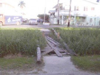The deplorable Middleton Street foot bridge residents are forced to cross regularly.