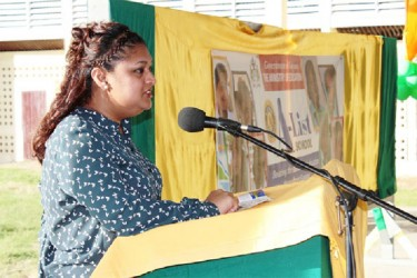 Education Minister Priya Manickchand speaking during the event. (GINA photo)