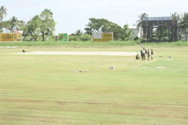 The soggy outfield at the Everest Cricket Ground