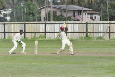 Kevon Boodie on the attack during his knock of 32 at Enmore