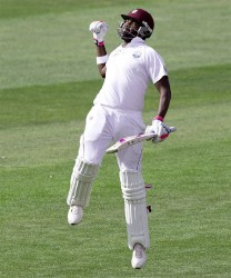 Darren Bravo leaps after scoring his maiden double-century, New Zealand v West Indies, 1st Test, Dunedin, NZ