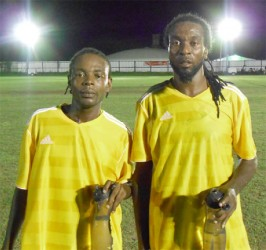 BV/Triumph United scorers from left to right Akin Curry and Delroy Dean