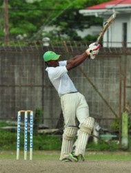 All-rounder Kemo Paul pulls aggressively through mid-wicket during his unbeaten 24.