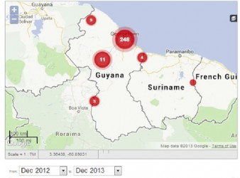 A screenshot of the Guyana Crime Reports website showing the mapping of the incidence of crimes in/ related to Guyana.