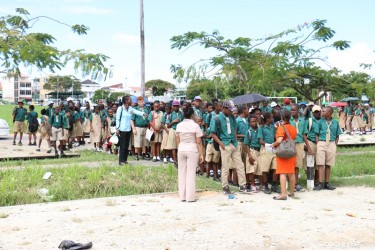 St John's students waiting on Parade Ground for the all-clear