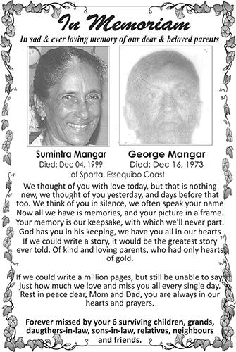 SUMINTRA & GEORGE MANGRA