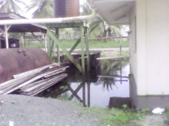 The NDC compound at Charity has been surrounded by water since Friday.