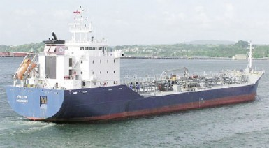 The Lucy PG which damaged the Demerara Harbour Bridge on Sunday