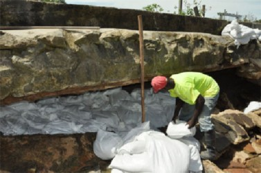 Sandbags being used to keep out the water after the seawall breach at Mosquito Hall, Mahaica. (APNU photo)