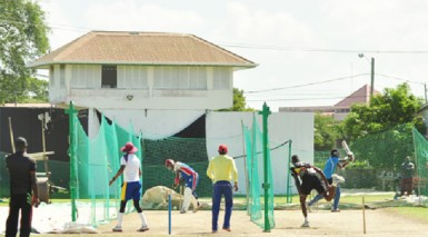 Some of the players hitting their straps during yesterday's net session at Everest.