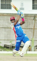 Skipper Chris Barnwell goes over the top during his 16-ball cameo of 42 runs. (Orlando Charles photos)