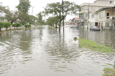 A section of South Road under water.