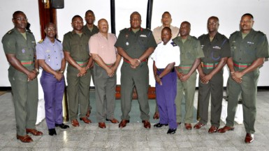 The newly promoted Senior Officers with Chief of Staff Brigadier Mark Phillips (GDF photo)
