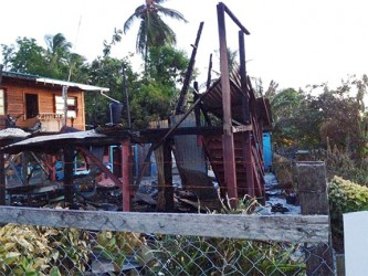 The remains of the house after Thursday night's fire