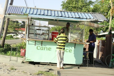 A cane juice and snackette stall