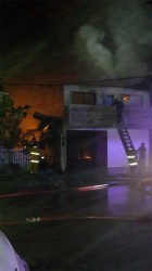 Firefighters battling the blaze on Saturday night