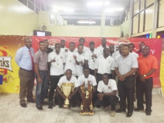 Members of the Slingerz FC, executives of the GFA and GFF along with staff members of Banks DIH Limited pose for a photo opportunity following last night's presentation ceremony.
