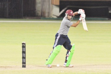 Ramnaresh Sarwan was his usual elegant self in his knock of 16. (Orlando Charles photo)