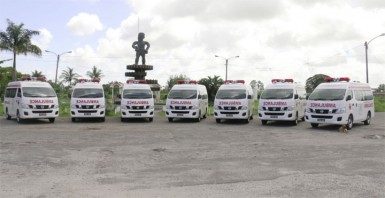 The seven ambulances, which were handed over for public hospitals by the Ministry of Health.