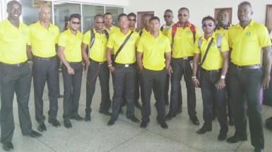 The Guyana national cricket team prior to their departure for Trinidad yesterday morning.