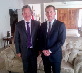 British High Commissioner to Guyana Andrew Ayre (left) and Barrister-at-Law John McKendrick