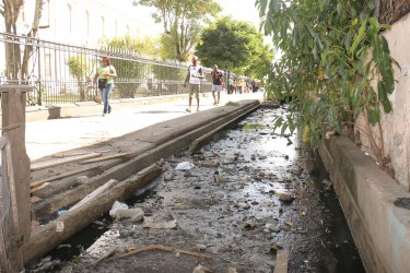 The stagnant trench on Cornhill Street recently complained about by Speaker of the National Assembly, Raphael Trotman.