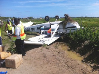 Fenix's 206 Cessna after it crashed at the Ogle International Airport yesterday morning.