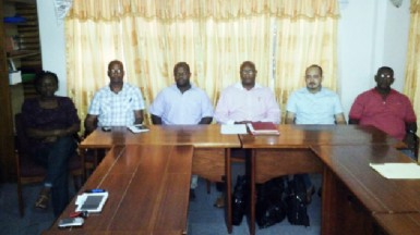 Some of the members of the newly elected GABF executive from left to right assistant secretary/treasurer Leona Kyte, general secretary Richard Blair, vice president Haslyn Graham, president Nigel Hinds, vice president Michael Singh and Technical Director Cecil Chin. Missing from photo through their absence at the election are treasurer Clairmonte De Nobrega and vice president Kenrick Thomas.
