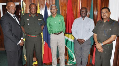 From left are APNU's Joe Harmon, GDF Chief of Staff Mark Phillips, Leader of the Opposition David Granger APNU MP Winston Felix and Deputy Chief of Staff Colonel Khemraj Persaud. (GDF photo)