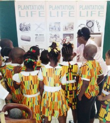 Nursery school students of the Centre for Learning and Afro-Centric Orientation being showed ACDA's exhibition yesterday. The exhibition, commemorating African History Month, will continue until the end of February.