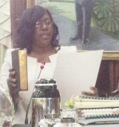 Dr Karen Cummings being sworn in yesterday