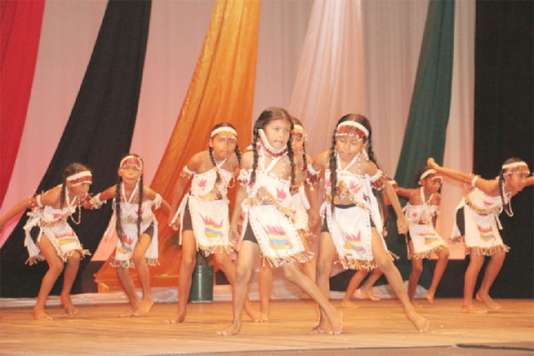Children from Mainstay Lake Primary in Region Two performing in the Legends and Traditions section.
