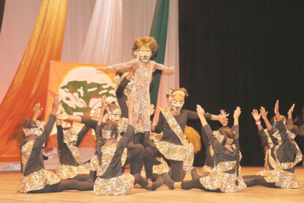 Children of Rosignol Primary in Region Five performing `Beautiful beginnings' in the fantasy section.