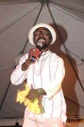 """The 2014 Mashramani Calypso Monarch Lester 'De Professor' Charles during his winning performance of """"Is De Truth."""" (Photo by Arian Browne)"""