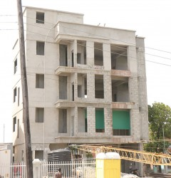This building at Joseph Pollydore Street and Mandela Avenue has raised several questions after it was discovered that no piles were driven for its foundation. Subsequently, the ground floor was knocked out in order for the piles to be driven.