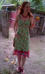 Ukrainian musician Iryna Muha picking a carambola