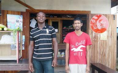 Desmond Baggot and shop-owner, Dhaneshwar Garbaran