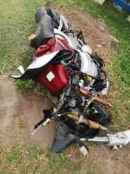 The wreckage of the motorcycle