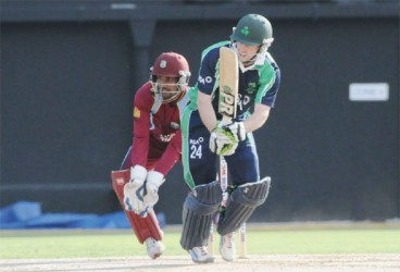 Ireland's Ed Joyce scores runs on the leg side during his unbeaten innings of 40 yesterday. (WICB media photo)