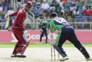 West Indies batsman Marlon Samuels is smartly stumped by Ireland's wicketkeeper in his first game back from injury. (WICB media photo)