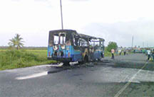 The remains of the bus