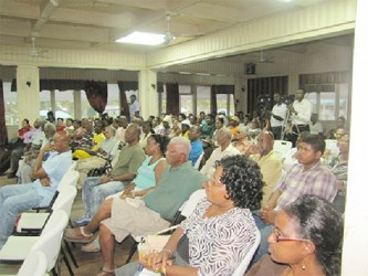 A section of the gathering at the Watooka Guest House, Linden for the first ever town hall meeting on the Anti Money Laundering and Countering the Financing of Terrorism (Amendment) Bill. (Government Information Agency photo)