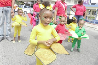 Tender Heart Day Care and Play Group of Parade Street, Kingston had a floral theme during a mini Mash parade on Friday (Photo by Arian Browne)