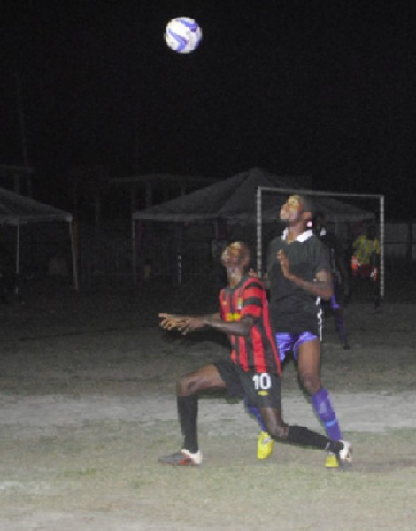 Part of the action between Pouderoyen and Young Achievers which Pouderoyen won 2 – 1 in extra time.