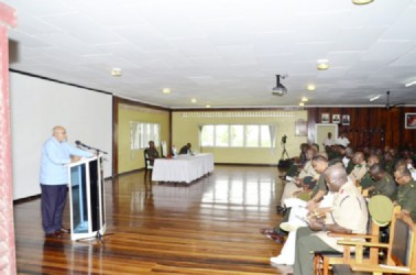 Commander-in-Chief, President Donald Ramotar, addressing the Guyana Defence Force's (GDF) Annual Officers' Conference yesterday. (GINA photo)